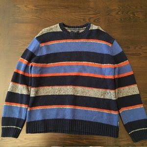 Navy/Light Blue, Orange & Gray Striped AE Crewneck